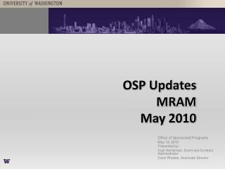 OSP Updates MRAM  May 2010