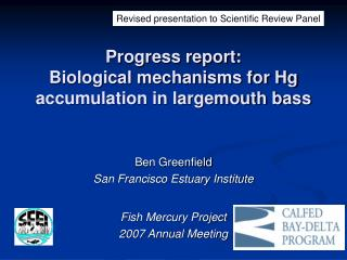 Progress report:  Biological mechanisms for Hg accumulation in largemouth bass