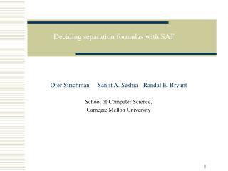 Deciding separation formulas with SAT