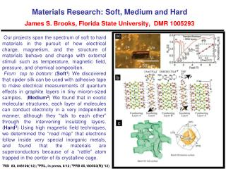 Materials Research: Soft, Medium and Hard James S. Brooks, Florida State University,  DMR 1005293