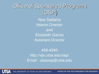 Office of Sponsored Programs OSP
