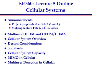 EE360: Lecture 5 Outline Cellular Systems