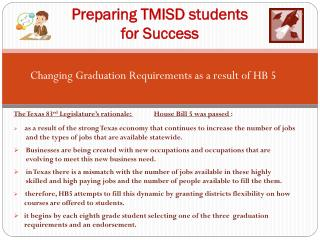 Preparing TMISD students  for Success