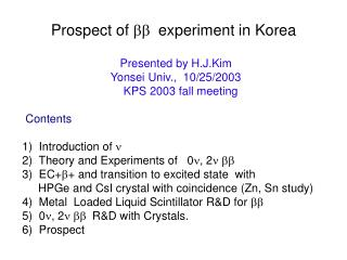 Prospect of  bb   experiment in Korea