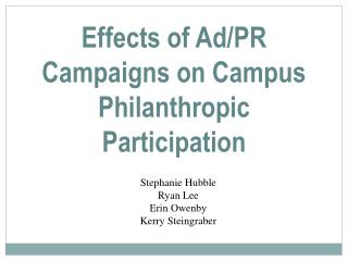 Effects of Ad/PR Campaigns on Campus Philanthropic Participation