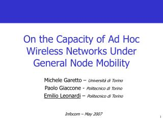 On the Capacity of Ad Hoc Wireless Networks Under General Node Mobility