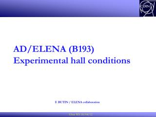 AD/ELENA (B193)  Experimental hall conditions
