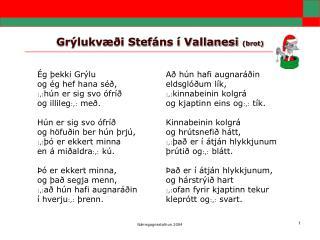 Grýlukvæði Stefáns í Vallanesi  (brot)