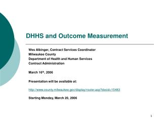 DHHS and Outcome Measurement
