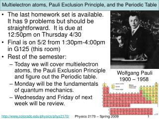 Multielectron atoms, Pauli Exclusion Principle, and the Periodic Table