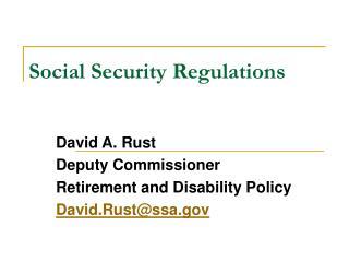 Social Security Regulations