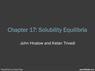 Chapter 17: Solubility Equilibria