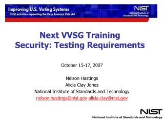 Next VVSG Training Security: Testing Requirements