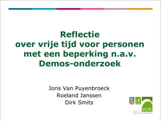 Reflectie  over vrije tijd voor personen met een beperking n.a.v. Demos-onderzoek