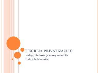 Teorija privatizacije