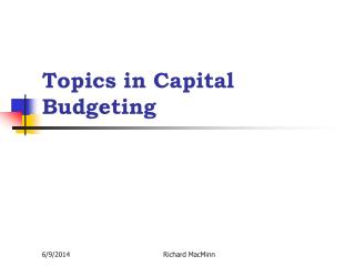 Topics in Capital Budgeting