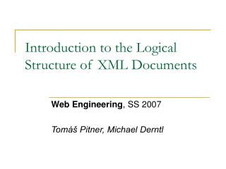 Introduction to the Logical Structure of XML Documents