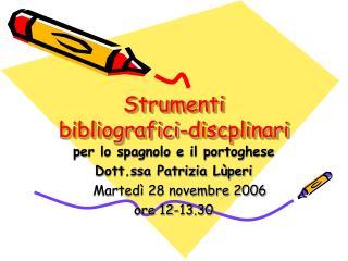 Strumenti bibliografici-discplinari