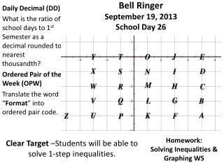 Bell Ringer  September  19,  2013 School Day  26