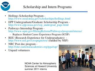 Scholarship and Intern Programs