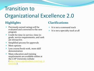 Transition to Organizational Excellence 2.0