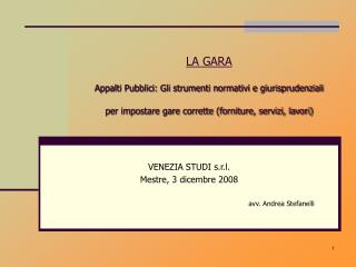VENEZIA STUDI s.r.l.   Mestre, 3 dicembre 2008 avv. Andrea Stefanelli