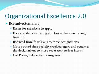 Organizational Excellence 2.0