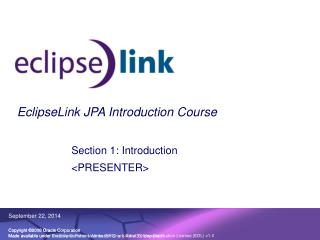 EclipseLink JPA Introduction Course