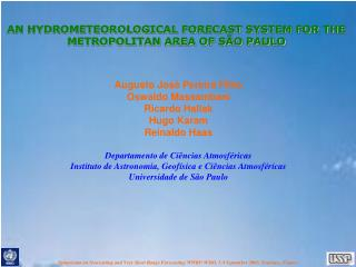AN HYDROMETEOROLOGICAL FORECAST SYSTEM FOR THE METROPOLITAN AREA OF SÃO PAULO