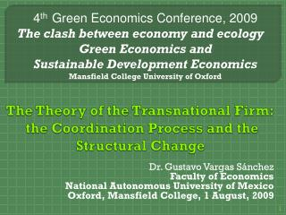 The Theory of the Transnational Firm:  the Coordination Process and the Structural Change
