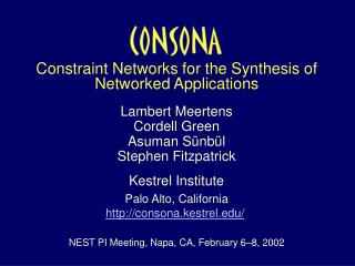 Constraint Networks for the Synthesis of Networked Applications