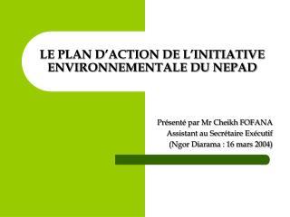 LE PLAN D ACTION DE L INITIATIVE ENVIRONNEMENTALE DU NEPAD
