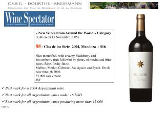 « New Wines From Around the World » Category  (Edition du 15 Novembre 2005)