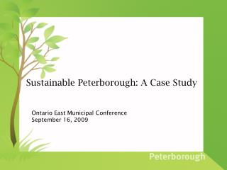 Sustainable Peterborough: A Case Study