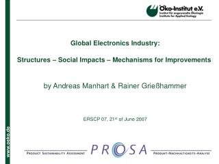 Global Electronics Industry: Structures – Social Impacts – Mechanisms for Improvements