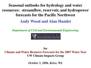 Seasonal outlooks for hydrology and water resources:  streamflow, reservoir, and hydropower forecasts for the Pacific No