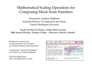 Mathematical Scaling Operations for Composing Music from Numbers