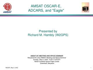 AMSAT OSCAR-E,  ADCARS, and Eagle