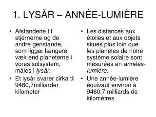 1. LYSÅR – ANNÉE-LUMIÈRE