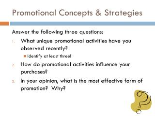 Promotional Concepts & Strategies