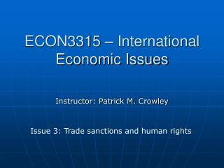 ECON3315 – International Economic Issues