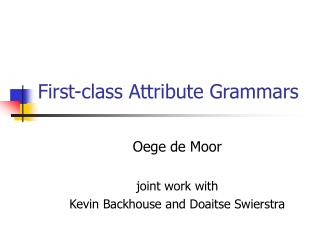 First-class Attribute Grammars