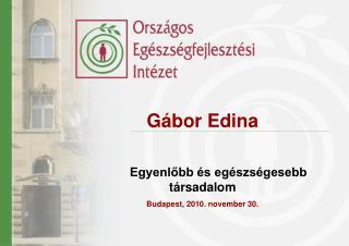 Gábor Edina  Egyenlőbb és egészségesebb társadalom Budapest, 2010. november 30.