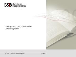 Biographie-Portal: Probleme der Datenintegration