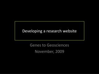 Developing a research website