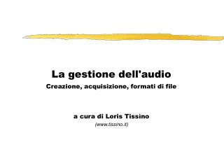 La gestione dell'audio Creazione, acquisizione, formati di file a cura di Loris Tissìno