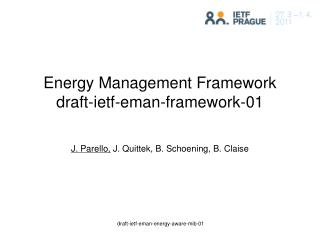 Energy Management Framework  draft-ietf-eman-framework-01