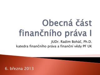 Obecná část finančního práva I