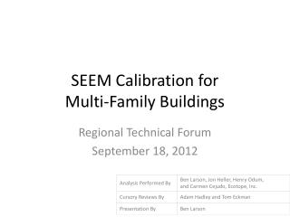 SEEM Calibration for Multi-Family Buildings