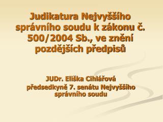 Judikatura Nejvyššího správního soudu k zákonu č. 500/2004 Sb., ve znění pozdějších předpisů